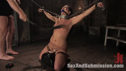 Jade indica. Girl anus fucked in suspension bondage and chains.