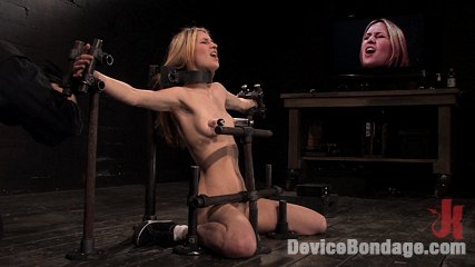 Calico br impaled on an electrified brdildo and made to orgasm. Co-ed on spring break is bound, stuck on electric dildo, cums!