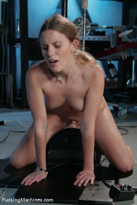 Amateur blond cums hard from machine pounding, breathless orgasms
