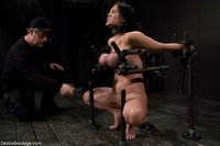 Claire-Dames-Huge-tits-brutally-bound-in-metal-helpless-to-stop-the-pain-or-pleasure