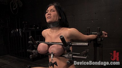 Claire damesbr  huge tits brutally bound in metalbrhelpless to stop the pain or delighting. Huge breasts trapped in metal, shaved slut moans from pain.