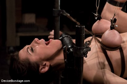 Mistress traped in hard metal and made to cum like a common slut