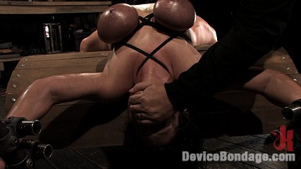 Claire damesbrher huge tits brutally bound and oiled  brher body spread and torment br. Claire Dames, her HUGE tits tied, her body helpless, made to cumshot