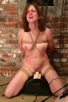 Cowgirl canes Dusty, strapon anal fuck, tied to the Sybian