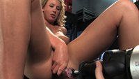 Never seen before blond BABE with HOT natural body fucks machines