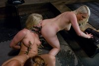 Action packed domination of Dia Zerva by Bella and Lorelei