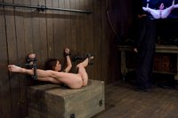 tiny model, bound down and DP'd with huge dildos made to cum!
