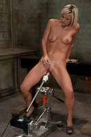 sexy blond machine railed, cums hard and loud from long thick mechanical cock.
