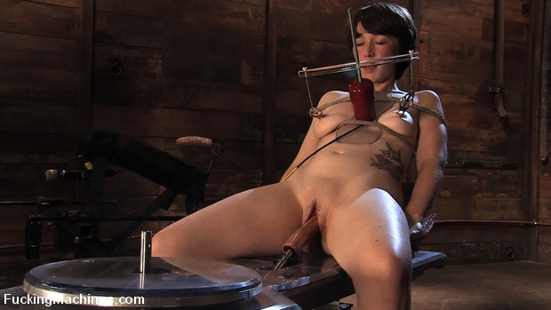 Brand new girl, bound machine fucked, nipple clamps and cums hard with mechanical cock.