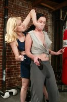 Cowgirl doms Paige teaches to stop smoking, human punching bag