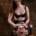 Iron dominatrix Claire Adams tests slave boy with heavy corporal punishment, intricate bondage and intense CBT