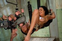 Charley Chase big tits, oiled and tanned has full body orgasms from deep HUGE robotic cock pounding her pussy, cums in bondage and squirts too!