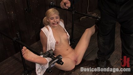 Ally annbr 19 year old blond hottie in pigtails. 19 year old blonde in pigtails, bound in metal and made to ejaculate over and over.