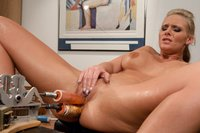 Phoenix Marie machine fucked for the first time - does a double penetration machine fucking, cums squatting over a big dick, shoves huge dongs in her