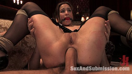 Subservient wife. Slave wife entertains her husband and his excited guest.
