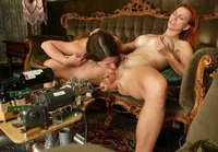 Lena Ramon gets some generous help from Fucking Machines.