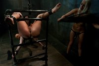 Juicy booty bitch sexually used by sadistic lesbians in bondage.
