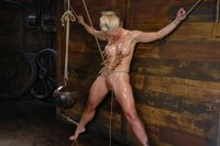 Big-titted blond Holly Heart rope-bound and fucked in mouth and ass.