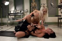 Blonde babe Lorelei Lee, big tits Charley Chase machine fuck in a medical clinic with huge dildos, forceps, speculum while having squirting orgasms.