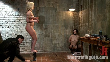 The training of sasha knox day two. Slave Trainers work in the basement to train sex slut Sasha Knox