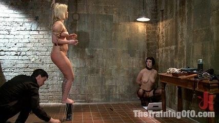 The training of sasha knox day two. Slave Trainers work in the basement to train sex slut Sasha Knox