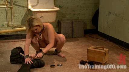The training of sasha knox day three. Slave Trainers work in the basement to train sex slut Sasha Knox