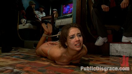 First timer disgraced in a public bar. Little hottie Jynx Maze does her first porn shoot ever in a bar full of rowdy drunk strangers. She gets fucked, fondled, made to blowjob vagina and worshi