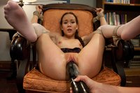 Bullied girl bound and fucked with huge dildo.