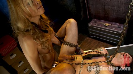 Johanna b  br a cougar in a boy band. Latina Ts Johanna B, fucks boy band drummer with her stiff dick, milks him dry while pumping his ass, leaves him chained up for his bandmates to find.