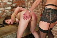 Slutty schoolgirl Lena subs Kym, tied, fucked, strapon, vibe