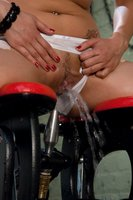 Amateur girl gets a wet fucking with a water machine, jets spray her clit, she cums from deep machine penetration, has a shockingly long orgasm.