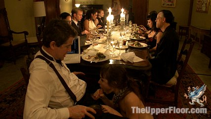 House supper. Sadistic Masters and Mistresses train slaves to serve sexual favors