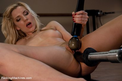 Hot blond, Ashley Fires, gets railed by forearm thick cock, fist size cock, and hooked black dong all pounding her at fast speed on the Intruder MKII.