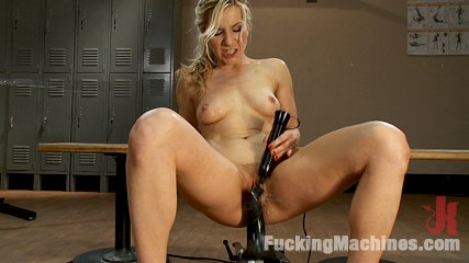 Ashley fires br part 2 of 5 squatting sweatingsquirting. Blond working out - sweats, fucks machine, squirts on her legs, mechanical tongues lick her clit and asshole,she bobs up/down fucked black robot cock