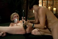 Stripper is dominated, punished, oiled up, spread wide and fucked by sadistic lesbian!