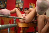 Lesbian action wth Kylie and Logan fuck each other and a machine!