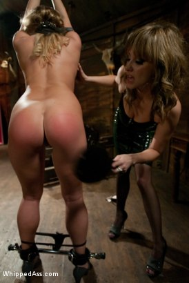 Aurora Snow is tied up, spanked, then ass fucked till she's gapping by sadistic domme Maitresse Madeline.