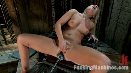 Blond ambition. Horny new blonde girl gets creepy with ice, hot water glass dildo and a have sex machine.She cums with the machine at a 100% and a large dong in her pussy