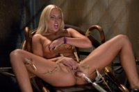 Double Updates: Upstairs Sybian orgasms in the fancy lounge, downstairs dungeon a beautiful blond uses clothespins and The Snake to reach cum space.
