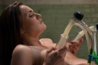 Tori Black fucked by hand held 2400RPM fuck machine. She cums like she's possessed, pushing the dick out. Also uses the goat milker on her tender tits