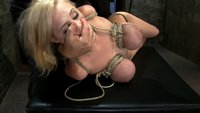 Katie Kox and her massive boobage are bound, tickled, caned and made to cum over and over.  Strict hogtied and boob torture!