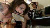Vivienne Del Rio is strap-on fucked and humiliated in a salon full of women!