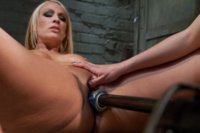 Blond mom machine fucks co-ed girl with a powerful pistol machine, both ride sybians and cum. MILF gets her pussy licked while girl cums on sybian.
