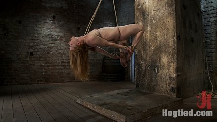 Category 5 suspensionbrtwo ropes one though her shaved pussybrand a cock in her mouth cute. Madison Young hot natural red head, is suspended in a Category 5 tie.  Two rope suspension, though her shaved pussy, made to blowjob cock!