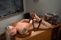 Lorelei Lee machine fucks on top of the teachers desk with the Sybian teasing her clit. The Crystal Palace steals two orgasms while she hog tied.