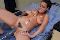 Charley Chase shoots a vibrator out of her pussy while cumming and squirting. Her pussy muscles choke out the fucking machines while she cums.