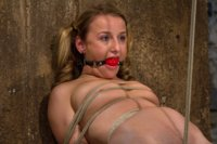 Pig tails + Thigh Highs + Cotton Panties + Ball gag + Brutal Crotch Rope = Awesome