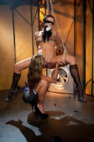 Slut is gagged, punished and double penetrated hard by sadistic dominatrix.