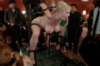 Katie Kox gets striped naked in a party full of clothed guests, then dicked down by big black cock, and covered in multiple loads of cum