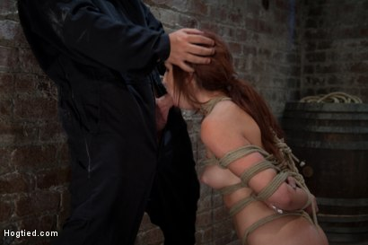 19yr old is bound and left in sub basement.  Held in place by tight crotch rope.  Soon this little bondage whore will be on her knees choking on cock!